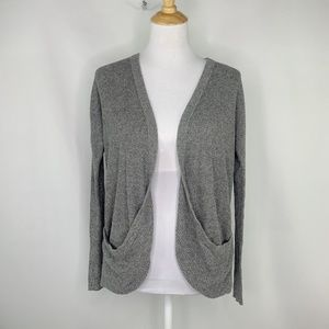 AEO Gray Waffle Knit Open Front Cardigan